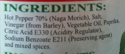Mr Naga Hot Pepper Pickle - Ingredients - en