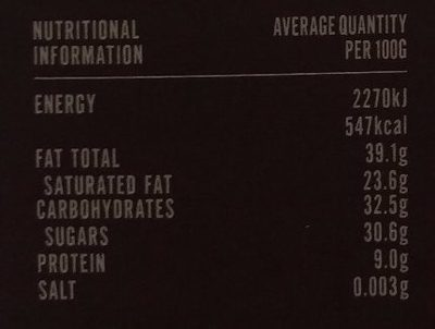 Peruvian Gold, Chulucanas 70 - Nutrition facts