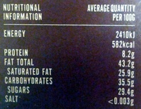Willie's cacao - Nutrition facts