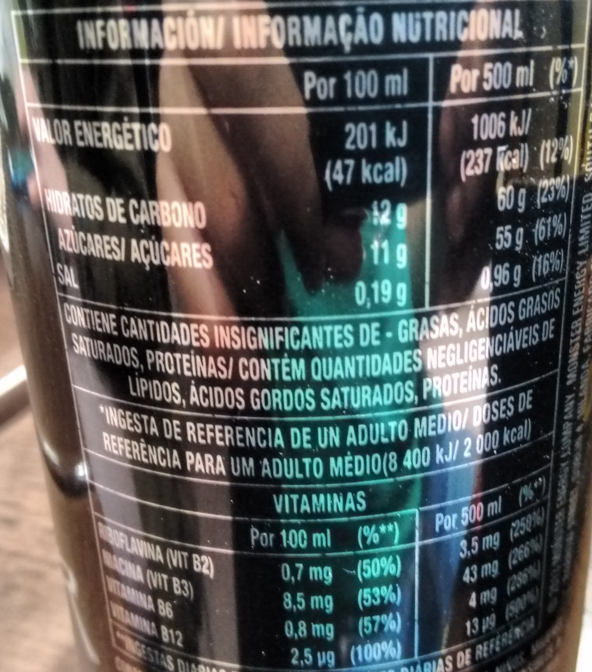 Monster Energy - Nutrition facts - es