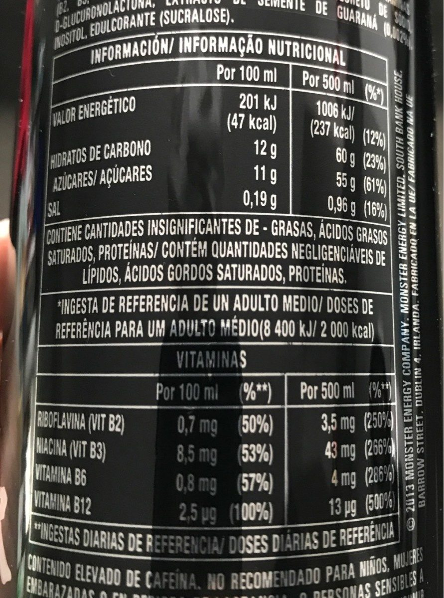 Monster Energy - Informations nutritionnelles - fr