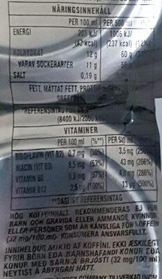 Monster Energy - 4 Pack - Informations nutritionnelles - sv