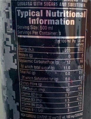 Monster Assault Energy - Informations nutritionnelles - en