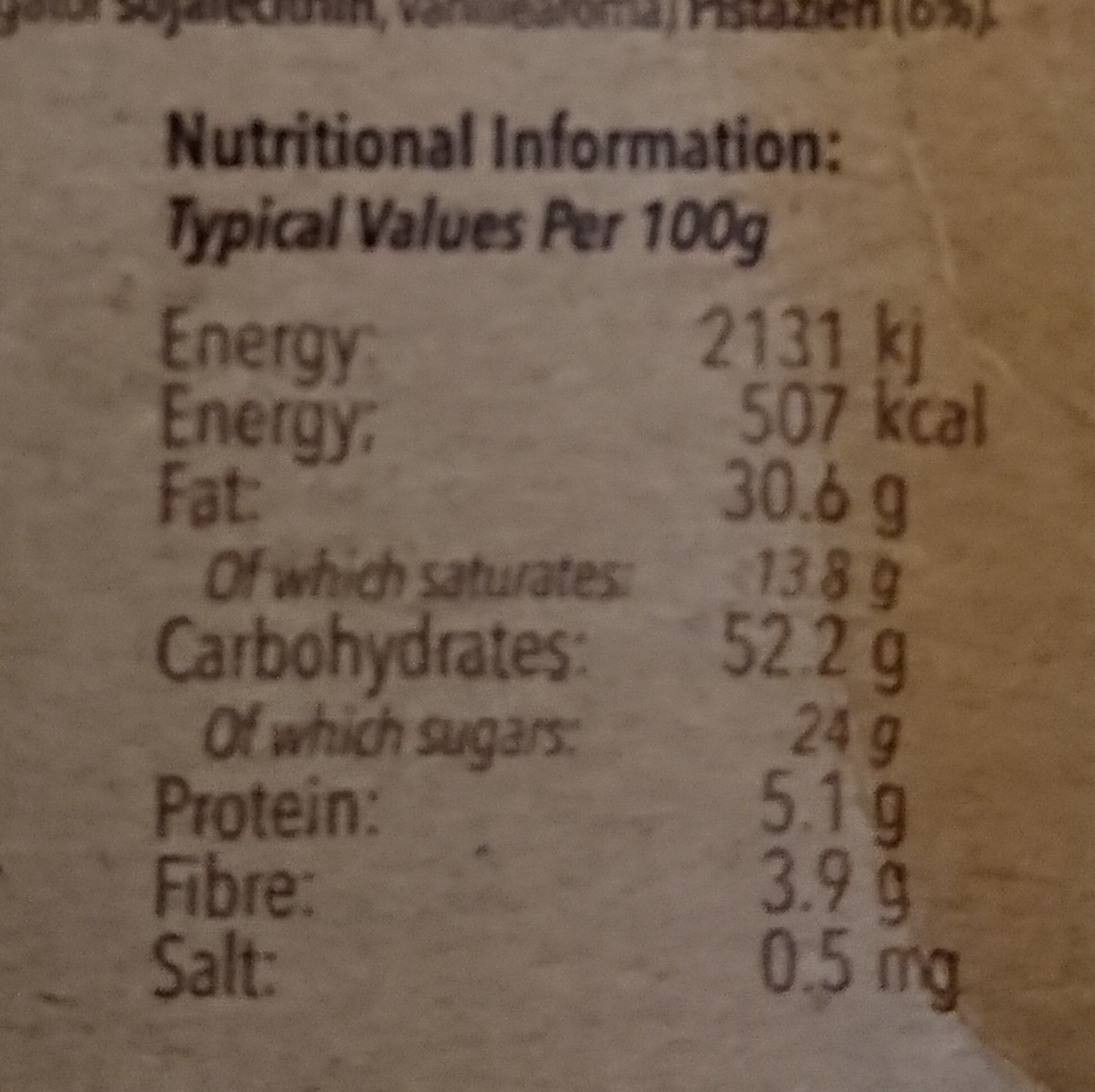 White Chocolate & Pistachio Cookie - Nutrition facts