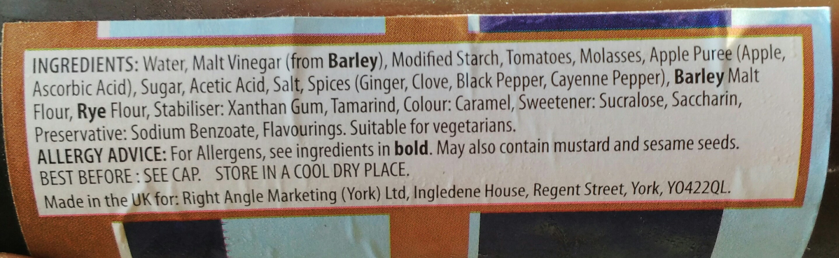 HC Brown Sauce - Ingredients - en