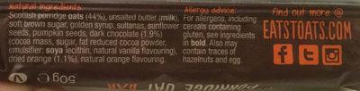 Porridge Oat Bar orange & dark chocolate - Ingredients