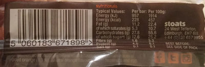 Porridge Oat Bar orange & dark chocolate - Nutrition facts
