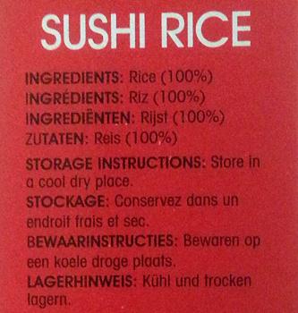 Sushi Rice - Ingredients