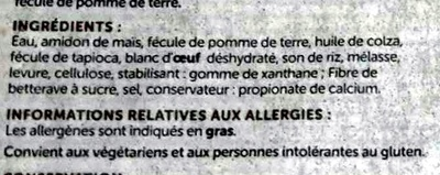 Pain Grandes Tranches Sans Gluten - Ingredienti - fr