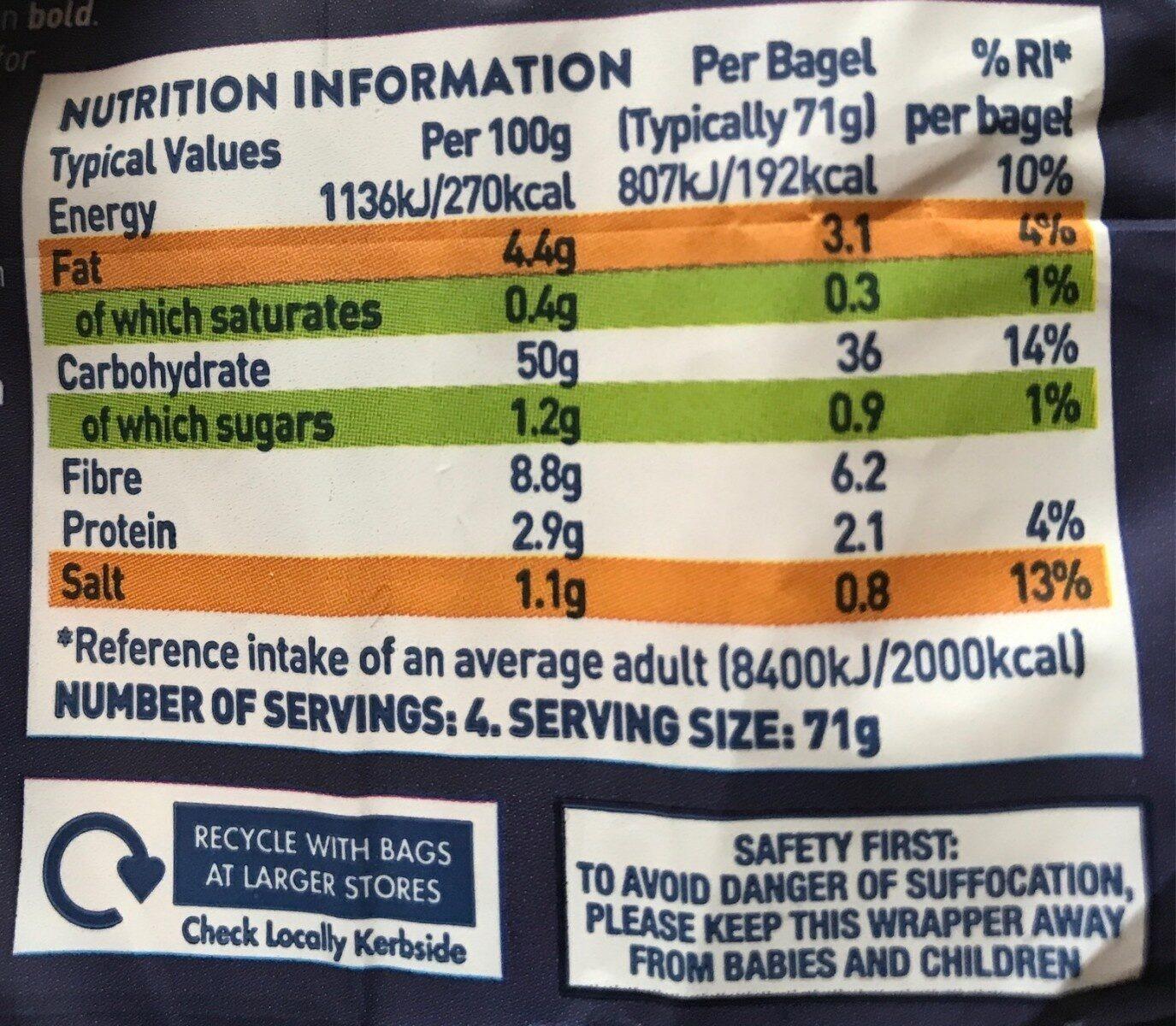 Genius Gluten Free Plain Bagels X4 - Nutrition facts - en