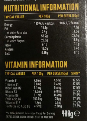Fuel - Cereal - Nut Loaded Chunky Granola - Nutrition facts