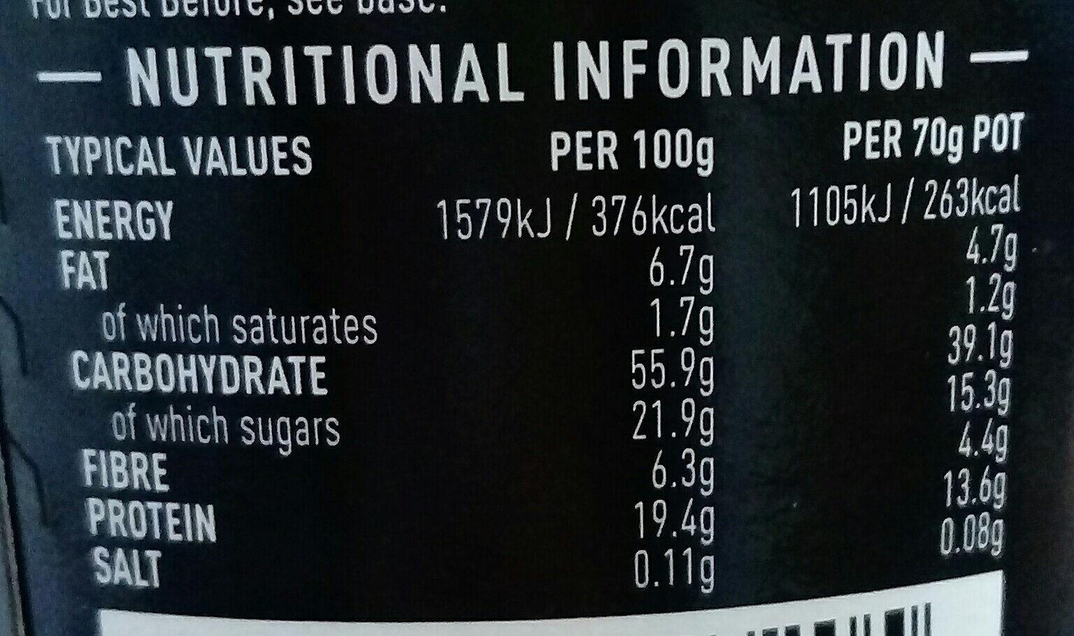 High Protein Porridge Chocolate - Nutrition facts - en