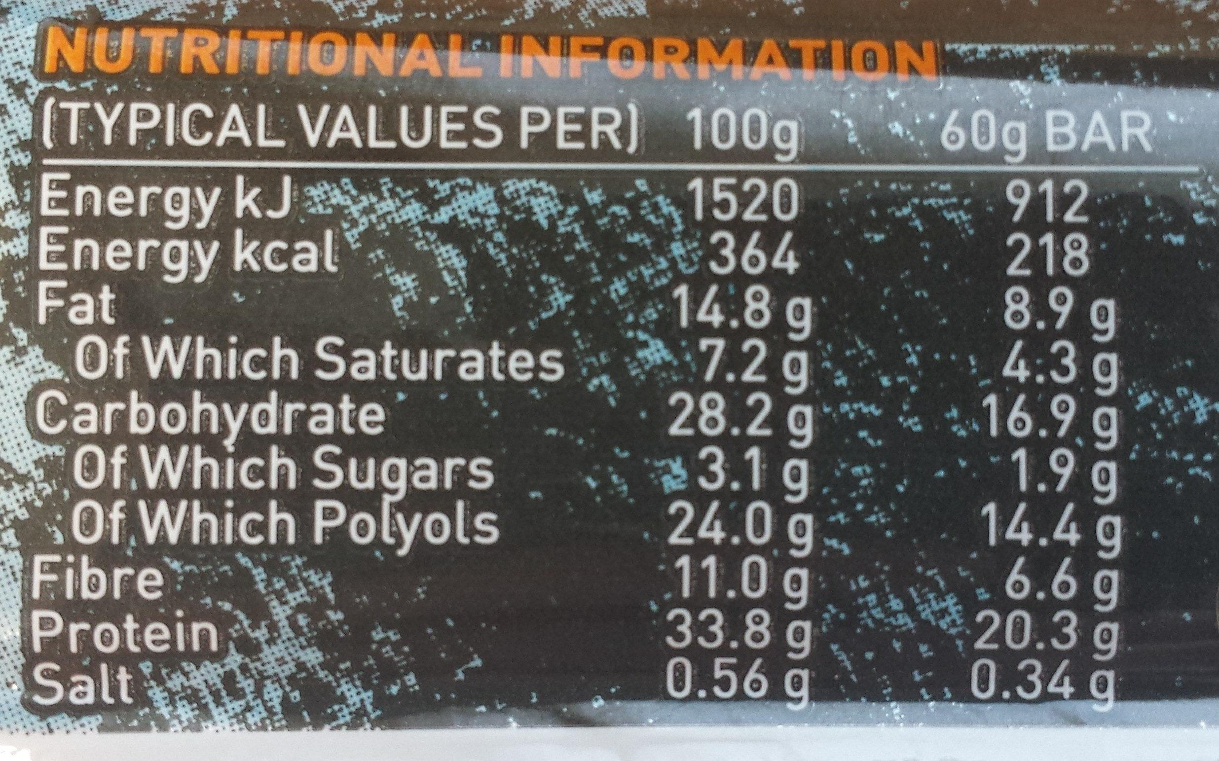 Carb Killa Chocolate Chip Cookie Dough - Informations nutritionnelles
