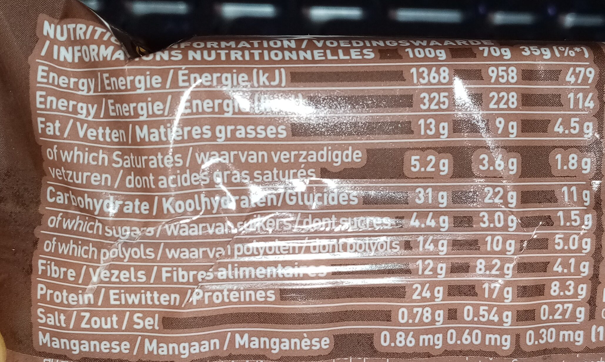 Grenade Reload Chocolate Chunk - Voedingswaarden - en