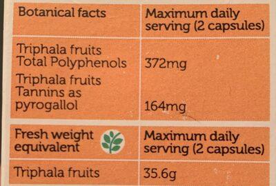 Wholistic Triphala - حقائق غذائية - fr