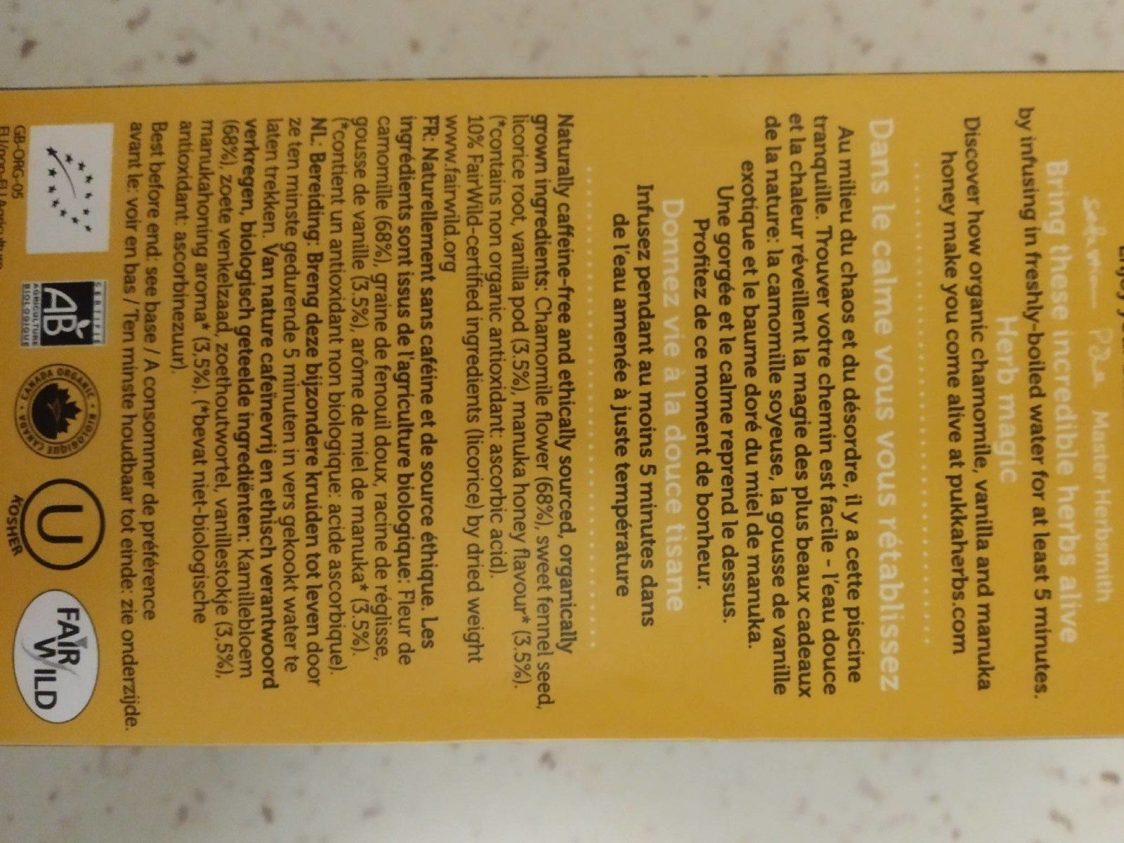 Chamomille, vanilla & manuka honey - Ingredients