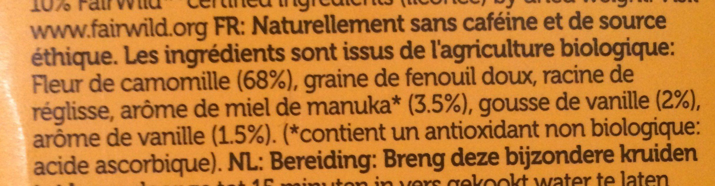 Infusion Camomille Vanille Miel De Manuka Bio - Pukka - Ingrediënten - fr