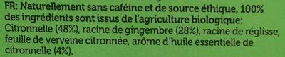 Infusion Citronnelle Et Gingembre Bio - 20 Sachets - Pukka - Ingredients - fr