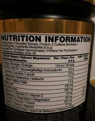 Optimum Nutrition 266 g Raspberry And Pomegranate Gold Standard Bcaa Powder - Voedingswaarden - fr
