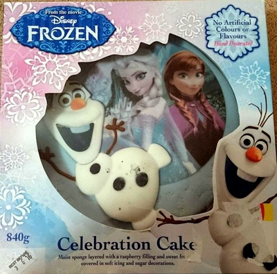 Disney Frozen Celebration Cake - Moist Sponge Layered with Raspberry Filling and Sweet Frosting covered in soft icing and sugar decorations. - Product