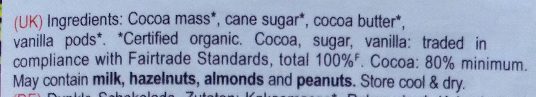 Panama 80% single origin dark chocolate - Ingredients - en