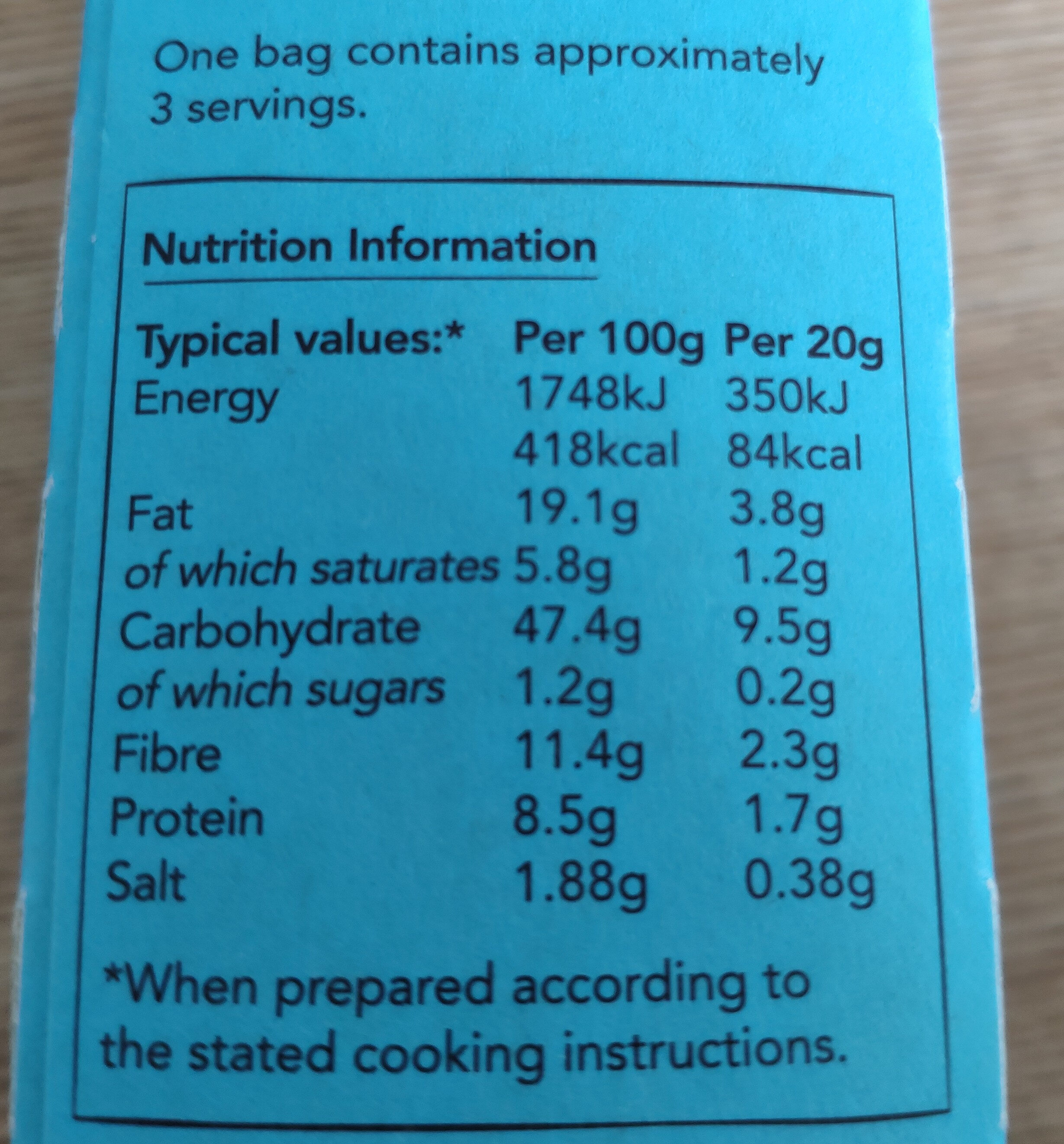 Salted popcorn - Nutrition facts - en