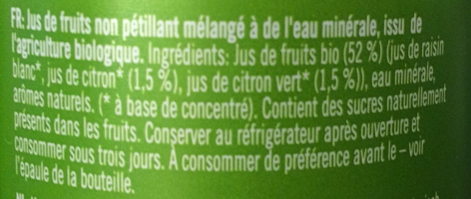Berrywhite Lemon & Ginger - Ingredients - fr