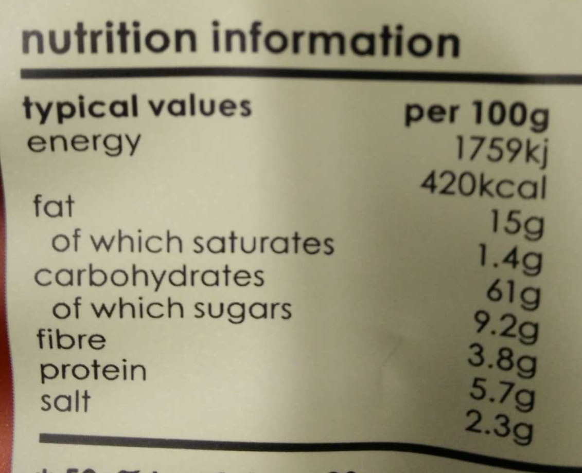 Barbeque Potato Chips - Informations nutritionnelles - en