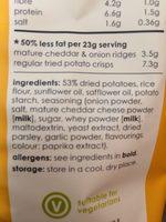 Popchips Ridges Mature Cheddar & Onion - Ingrédients - en