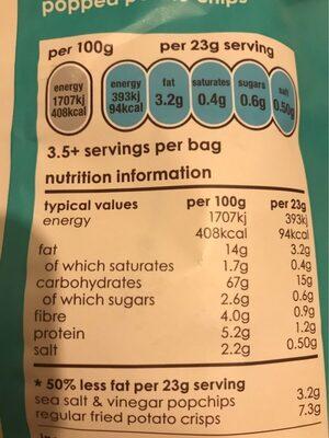 Sea Salt & Vinegar Potato Chips - Informations nutritionnelles - fr