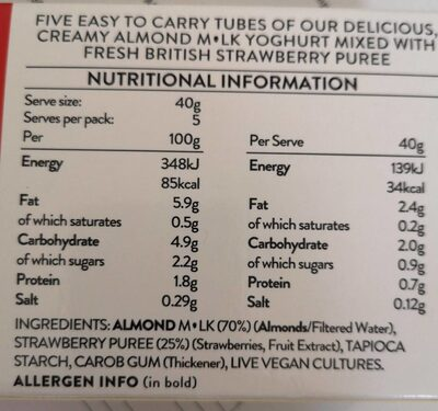 Strawberry Tubes Dairy free yogs - Informations nutritionnelles