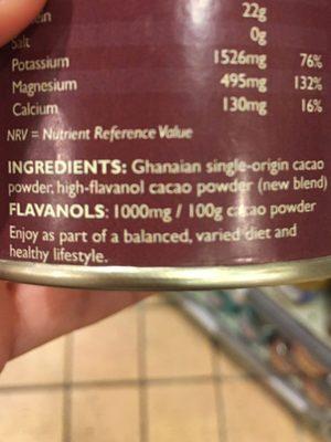 Super-cacao premium powder - Ingredientes
