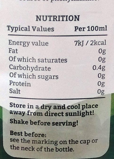 Froot Zero Sugar Orange - Informations nutritionnelles