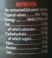 British Carlin Peas - Nutrition facts - en