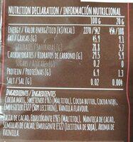 Delicious dark choco semillas de cacao - Informació nutricional - es