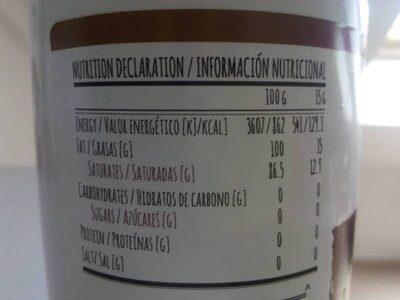 Aceite de Coco Virgen - Nutrition facts - es