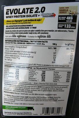 Proteína Vainilla - Información nutricional - es