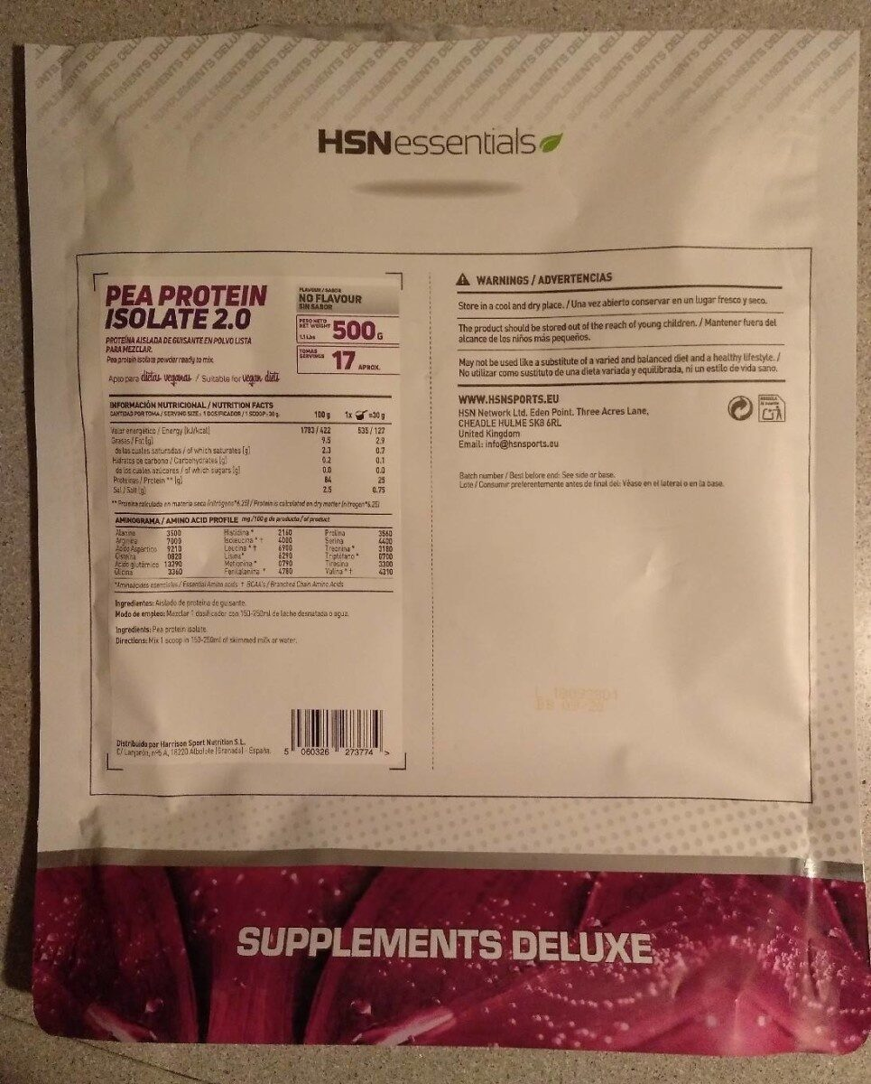 HSN Pea Protein Isolate 2.0 - Producto