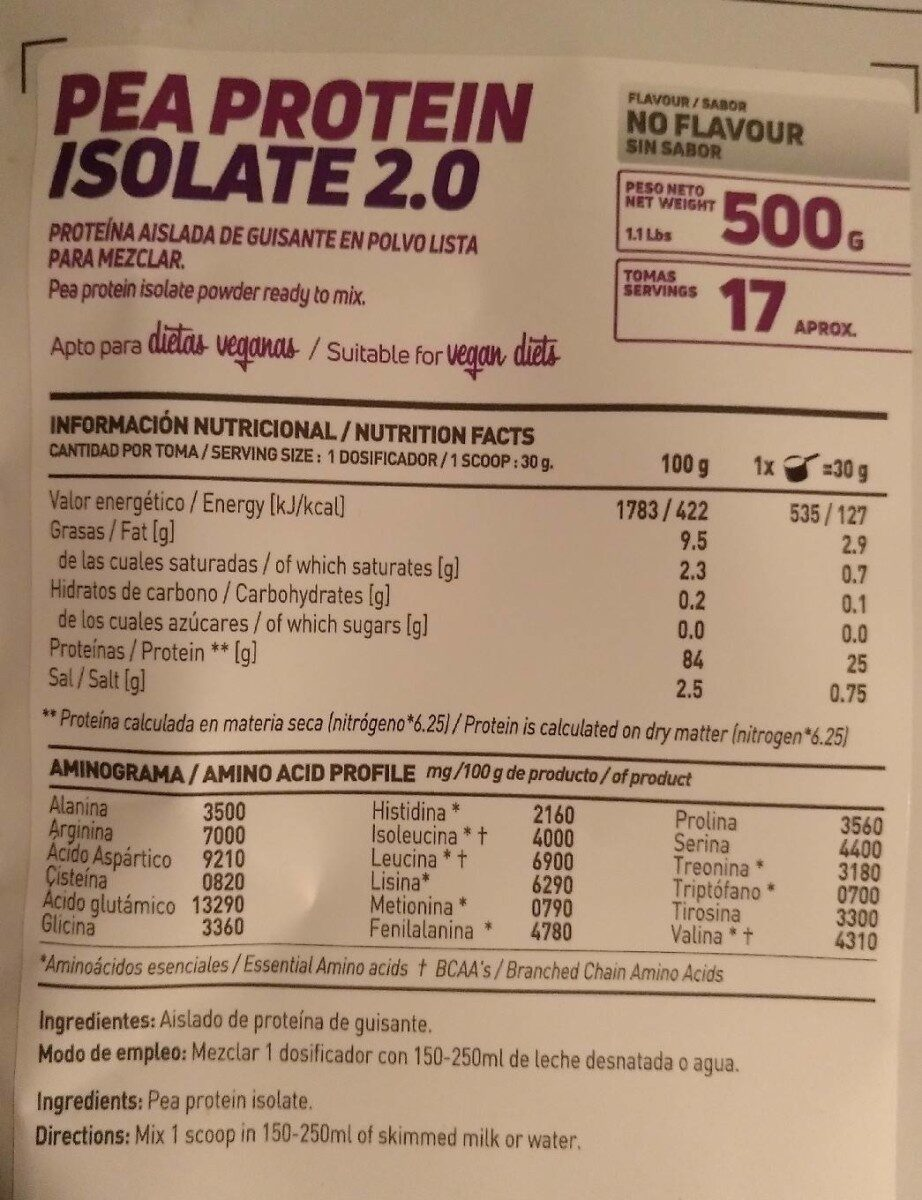 HSN Pea Protein Isolate 2.0 - Información nutricional
