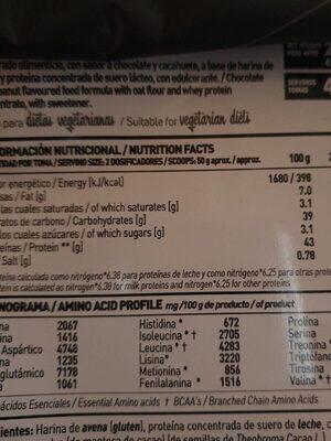 Evowhey - Información nutricional