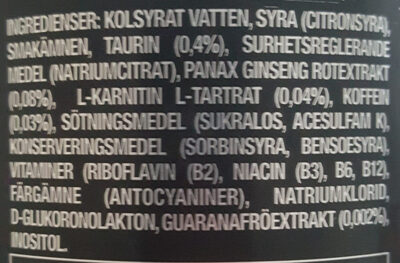 Monster Energy Absolutely Zero - Ingredients