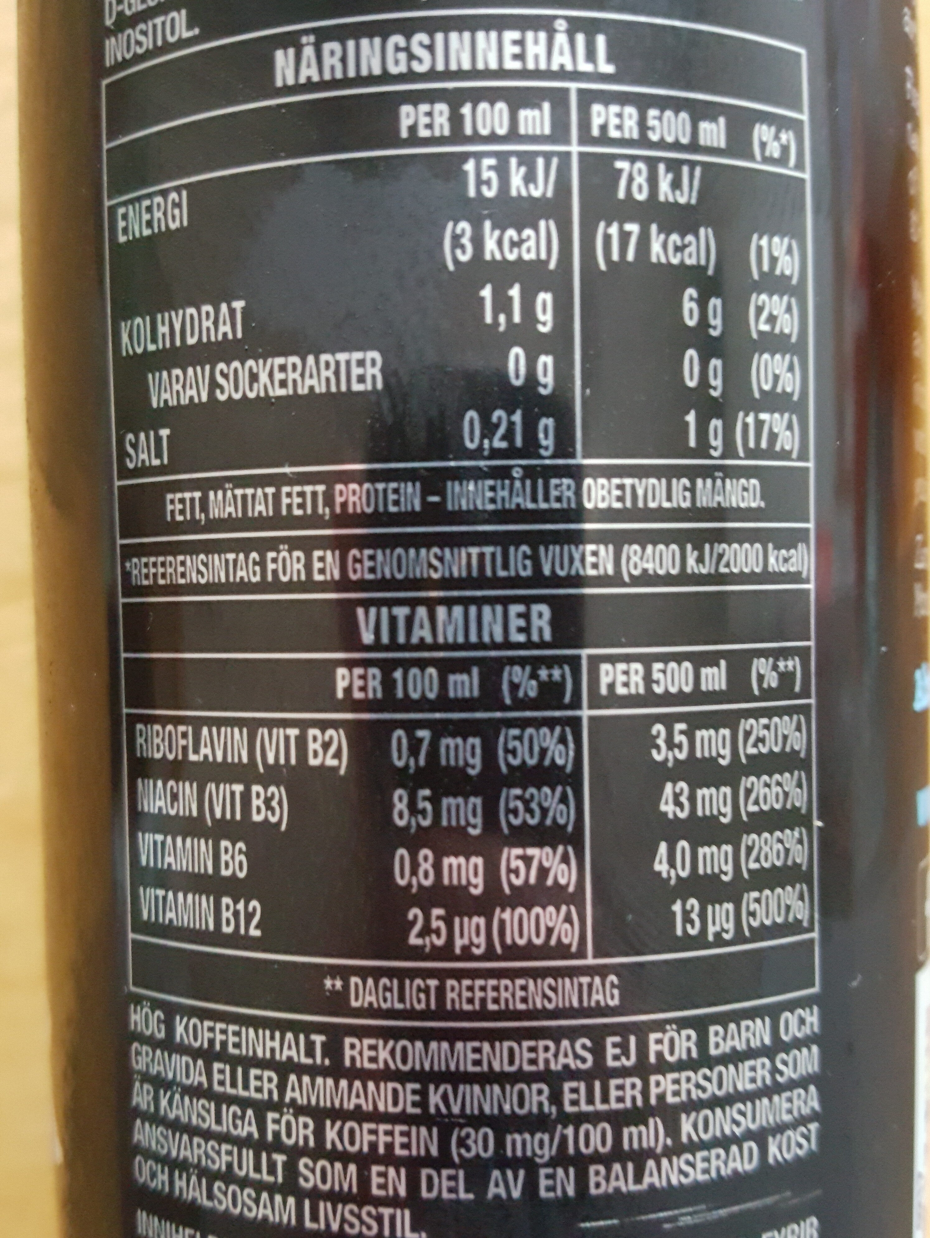 Monster Energy Absolutely Zero - Informations nutritionnelles