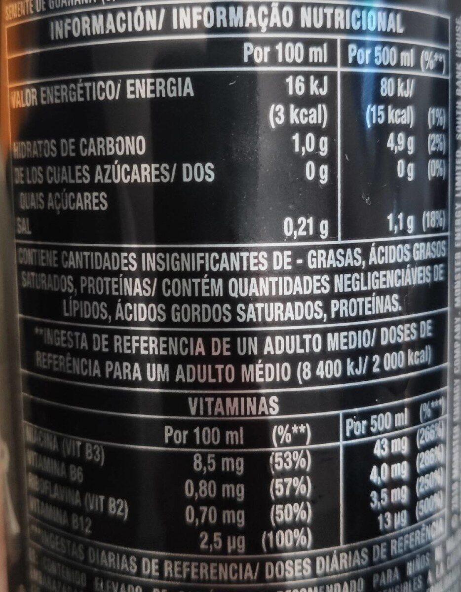 Monster Energy Zero Sugar - Voedingswaarden - es