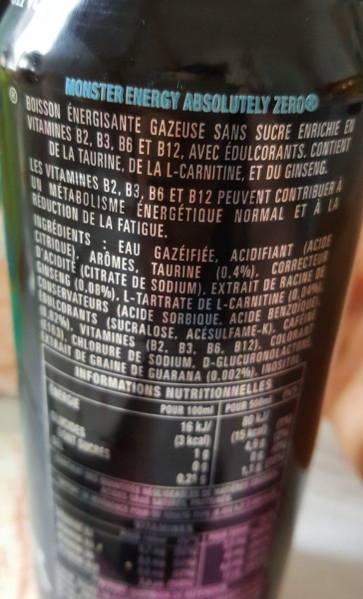 monster énergie zéro sucre - Valori nutrizionali - fr