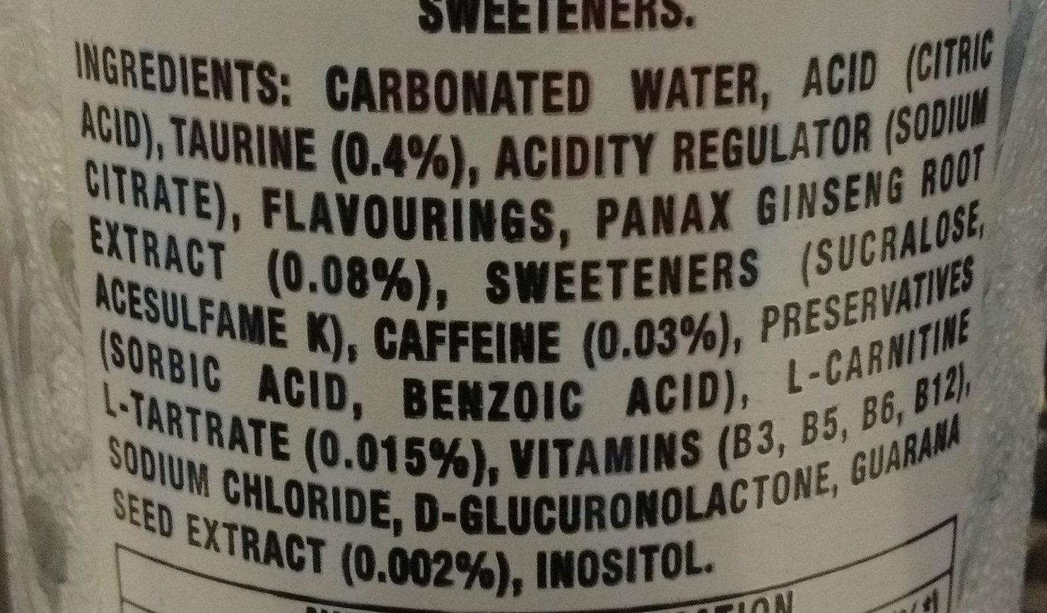 Monster Energy Ultra - Ingredients