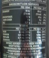 Monster Energy Drink Absolutely Zero - Nährwertangaben - de