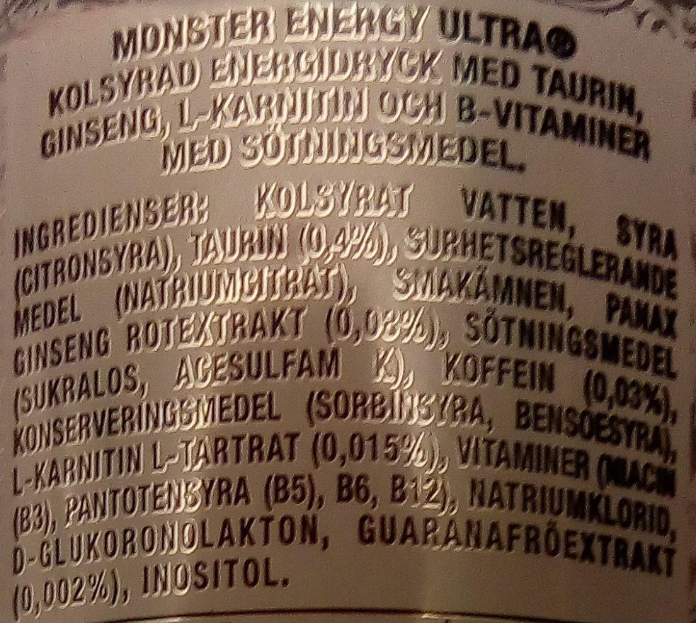 Monster Energy Ultra - Ingrédients