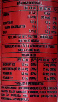 Monster Energy Ultra Red - Informations nutritionnelles - sv