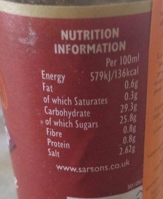 Sarson's Worcester Sauce - Informations nutritionnelles
