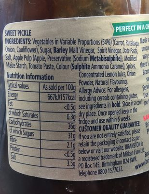 Original Sweet Pickle - Nutrition facts